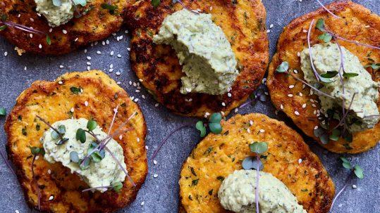 Luke Hines Pumpkin fritters with zucchini hummus