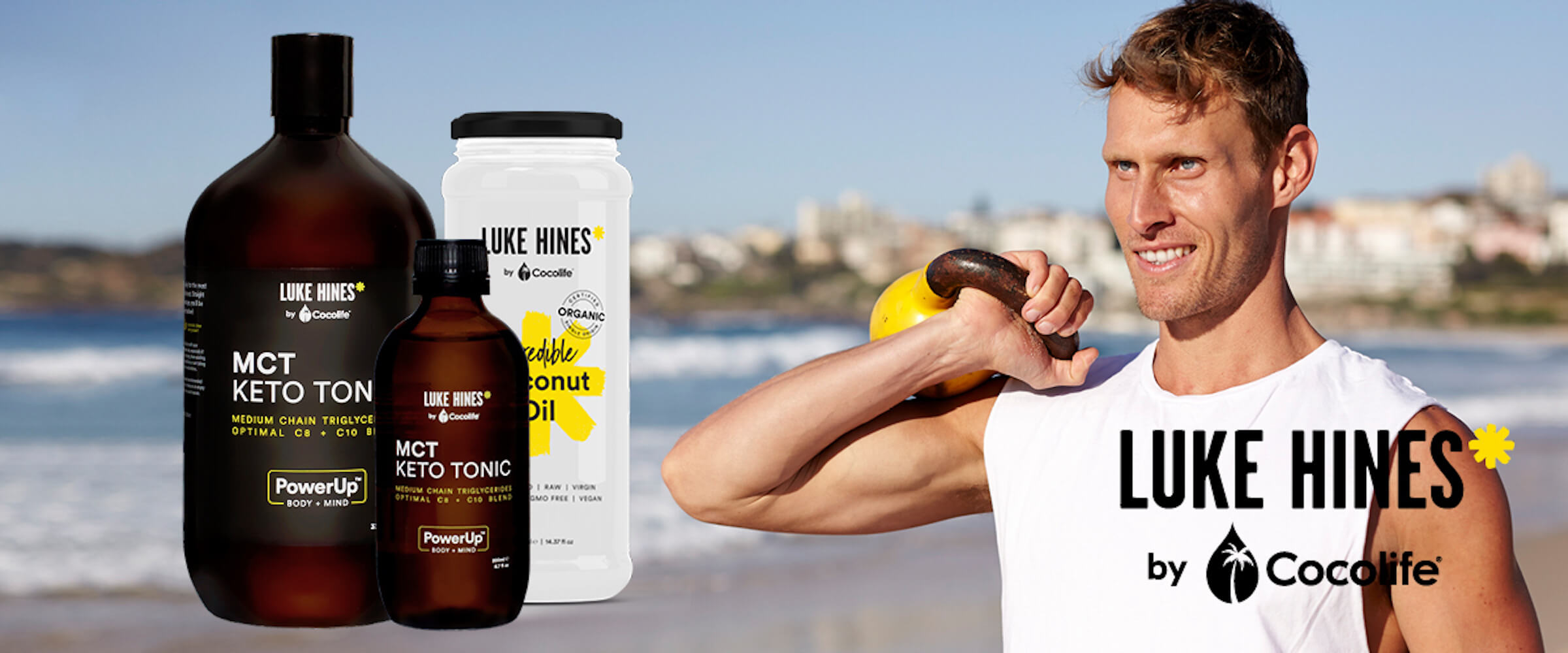 Luke Hines by Cocolife MCT Keto Tonic and Coconut Oil range. Vegan and Organic.