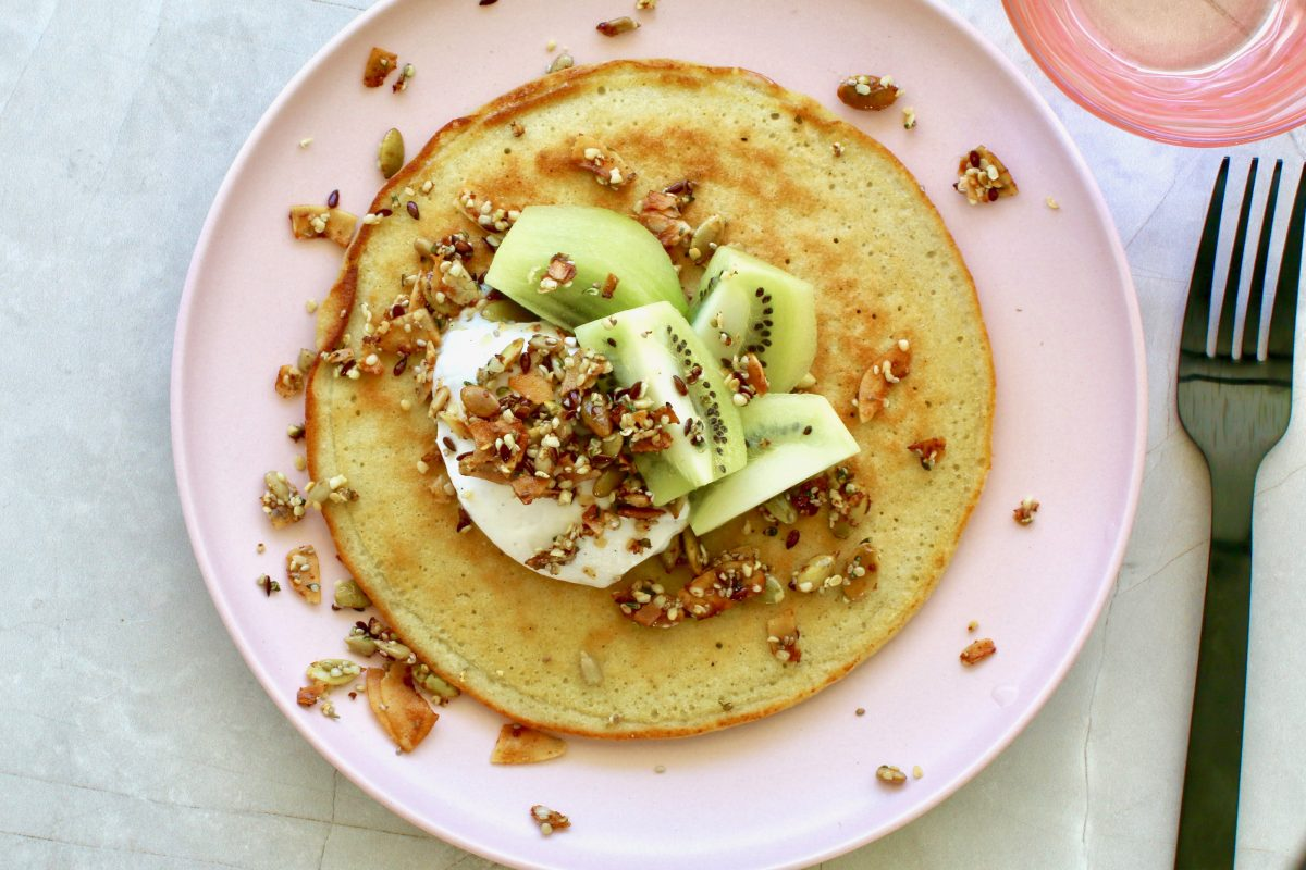 Low Carb Pancakes with Kiwi Crunch by Luke Hines | Cocolife
