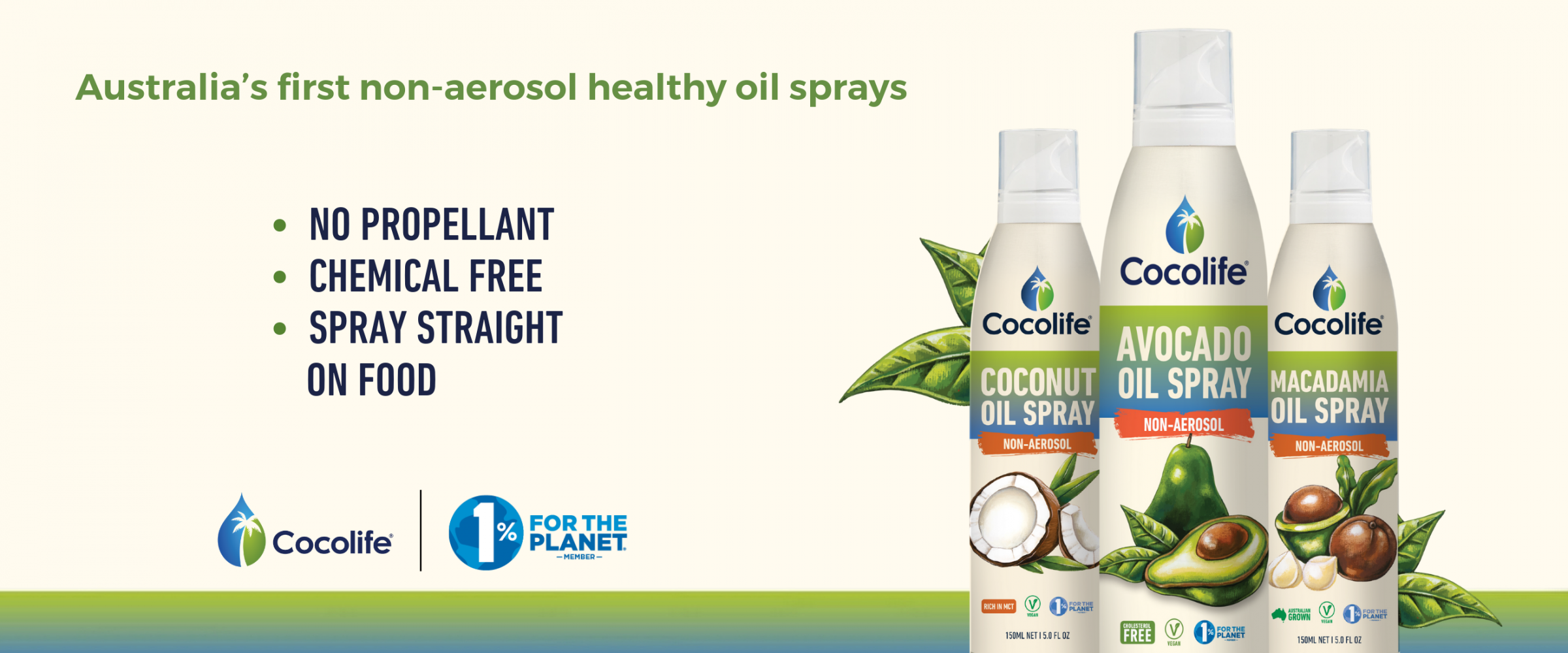NON-aerosol Healthy Oil Sprays by Cocolife | 100% Pure, Cold-pressed