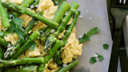 Best Keto Breakfast, Asparagus Scramble by Luke Hines | Cocolife Avocado Oil
