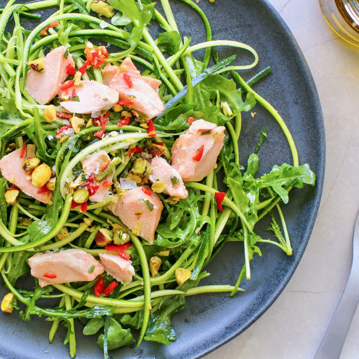 Spiralled Salmon Salad, Healthy Lunch Recipe by Luke Hines | Cocolife