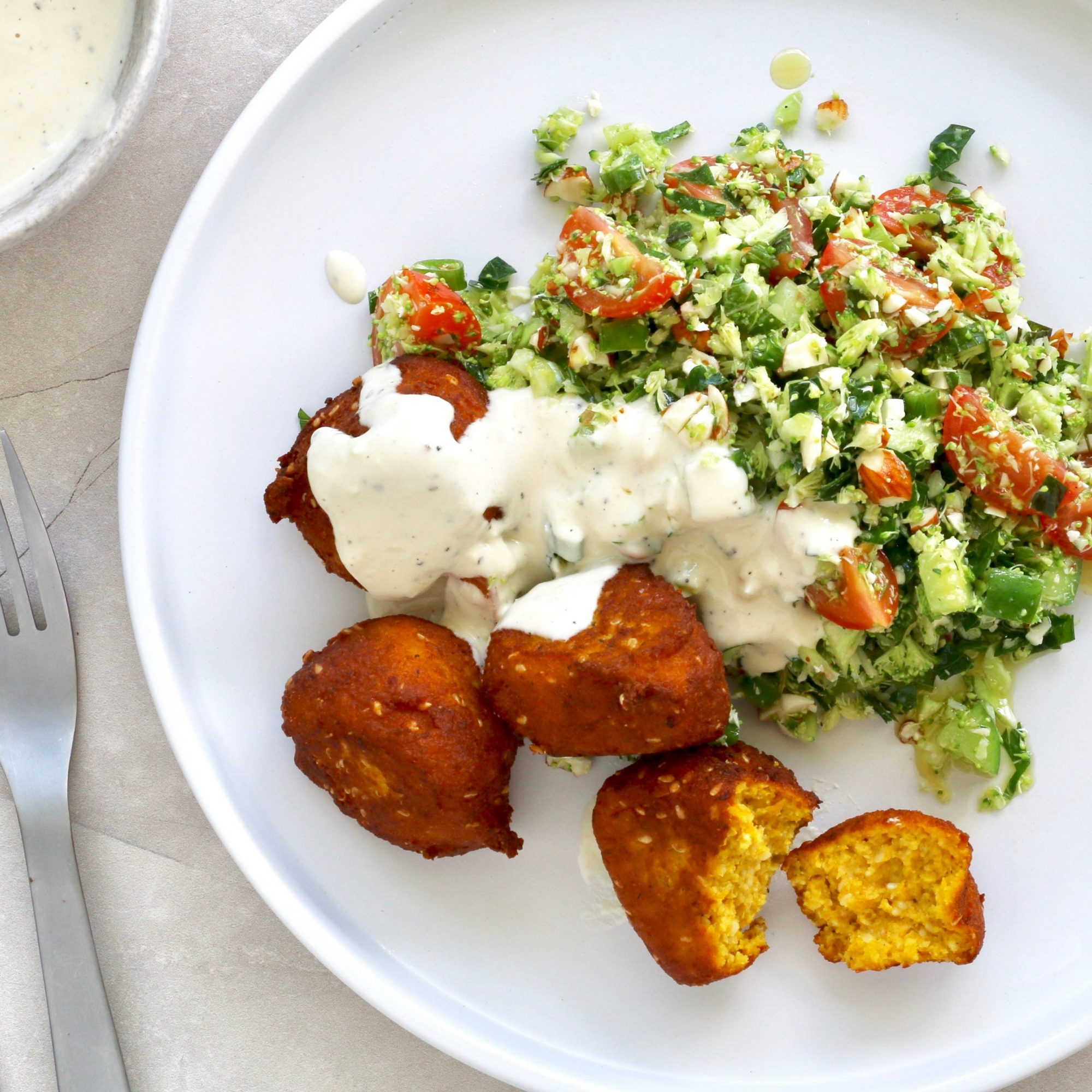 Pumpkin 'Falafel' with Broccoli Tabouli! w Cocolife Avocado Oil Spray