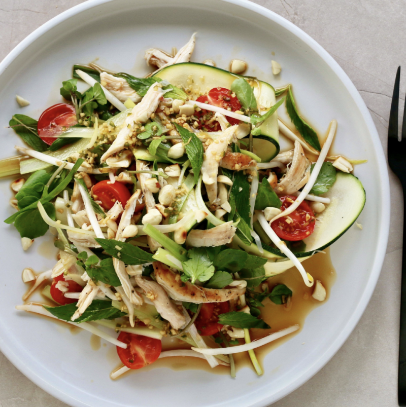 Vibrant Asian Style Chicken 'Noodle' Salad | Cocolife Non-aerosol Avocado Oil