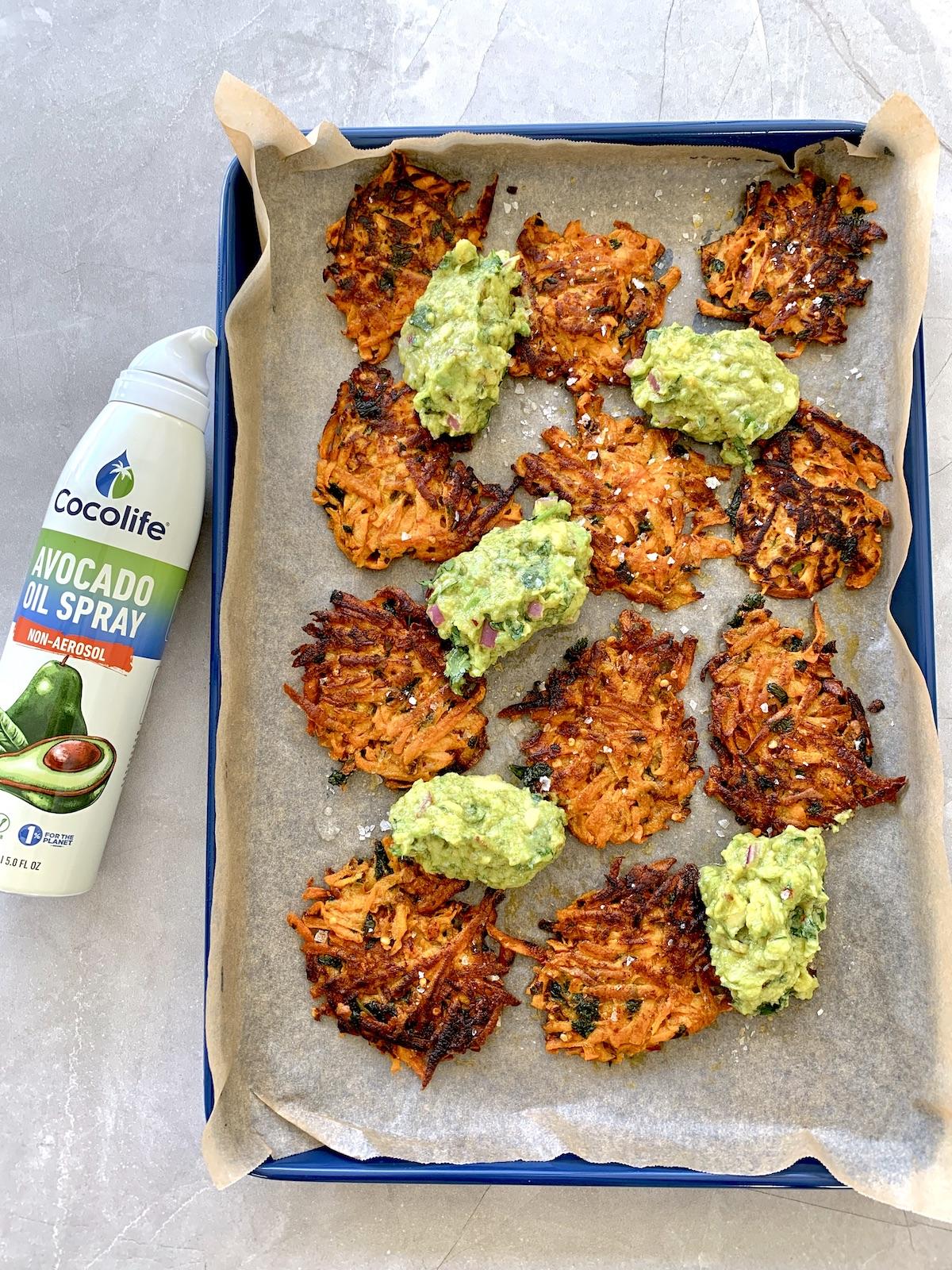 Crispy Sweet Potato Rostis | Healthy Gluten-free Vegan Recipe with Cocolife Avocado Oil Spray